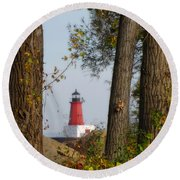 Lighthouse Mist Round Beach Towel