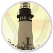Lighthouse Tranquility Round Beach Towel by Athena Mckinzie