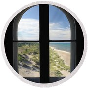 Lighthouse Window Round Beach Towel