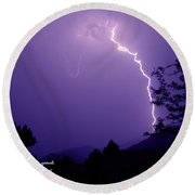 Lightning Over The Rogue Valley Round Beach Towel by Mick Anderson