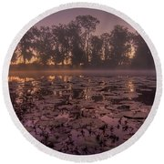Round Beach Towel featuring the photograph Lily Pads In The Fog by Dan Wells