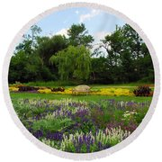Round Beach Towel featuring the photograph Lincoln Park Gardens by Lynn Bauer