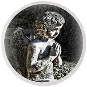 Little Angel Statue Round Beach Towel