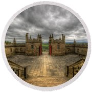 Little Castle Entrance - Bolsover Castle Round Beach Towel