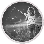 Little Fishing Girl Round Beach Towel