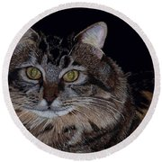 Little Girl - Maine Coon Cat Painting Round Beach Towel