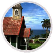 Little Green Church In Hawaii Round Beach Towel