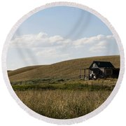 Round Beach Towel featuring the photograph Little House On The Plains by Lorraine Devon Wilke