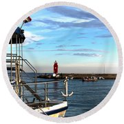 Little Red Lighthouse Round Beach Towel