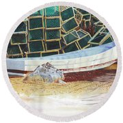 Lobster Traps And Dory Round Beach Towel