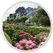 Lombard Street Round Beach Towel by Dany Lison