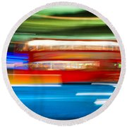 Round Beach Towel featuring the photograph London Bus Motion by Luciano Mortula