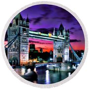 London Evening At Tower Bridge Round Beach Towel