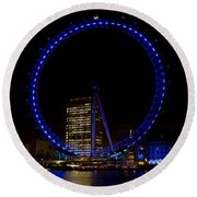 London Eye And River Thames View Round Beach Towel
