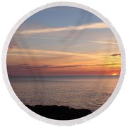 Round Beach Towel featuring the photograph Lone Freighter On Up by Bonfire Photography