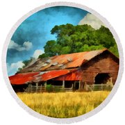 Round Beach Towel featuring the painting Long Road Barn by Lynne Jenkins