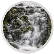 Round Beach Towel featuring the photograph Longfellow Grist Mill Waterfall by Betty Denise