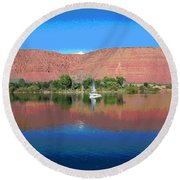 Reflections Of Ivins, Ut Round Beach Towel