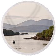 Looking To The Isle Of Mull Round Beach Towel