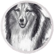 Round Beach Towel featuring the drawing Looks Like Lassie by Julie Brugh Riffey