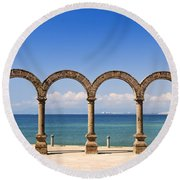 Los Arcos Amphitheater In Puerto Vallarta Round Beach Towel