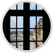 Louvre Window Round Beach Towel