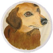 Round Beach Towel featuring the painting Lovable Dachshund by Norm Starks