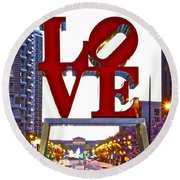 Round Beach Towel featuring the photograph Love In Philadelphia by Alice Gipson