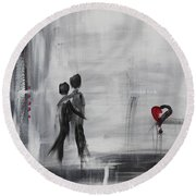 Love Story 1 Round Beach Towel