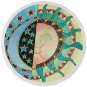 Round Beach Towel featuring the painting Love You Day And Night by Anna Ruzsan