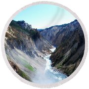 Lower Falls - Yellowstone Round Beach Towel by Dany Lison