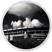 Lsu Tiger Stadium Black And White Round Beach Towel