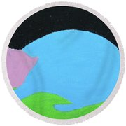 Lucky Cat Round Beach Towel