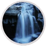 Lundbreck Falls Round Beach Towel
