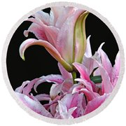 Luscious Lilies Round Beach Towel