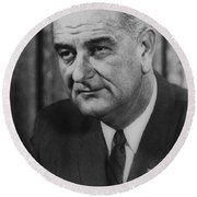 Round Beach Towel featuring the photograph Lyndon B Johnson by International  Images