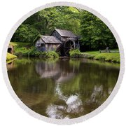 Mabry Mill And Pond Round Beach Towel