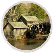 Round Beach Towel featuring the photograph Mabry Mill In Winter by Myrna Bradshaw