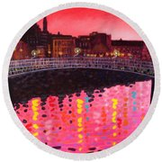 Magenta Evening Dublin Round Beach Towel