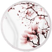 Magnolia - Monochrome Round Beach Towel by Laura Melis
