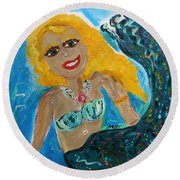 Round Beach Towel featuring the painting Maid With Golden Crab Bracelet by Mary Carol Williams