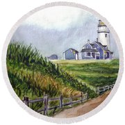 Maine Light Round Beach Towel