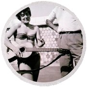 Mama Chris And Gary Cooper In Monte Carlo 1958 Round Beach Towel