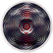 Round Beach Towel featuring the digital art Mandala Water Reflections by Mario Carini
