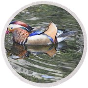 Round Beach Towel featuring the photograph Mandarin Duck  by Lydia Holly