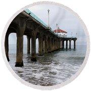Round Beach Towel featuring the photograph Manhattan Beach Pier by Lorraine Devon Wilke