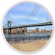 Manhattan Bridge1 Round Beach Towel by Zawhaus Photography