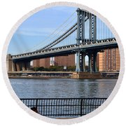 Manhattan Bridge2 Round Beach Towel by Zawhaus Photography