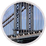 Manhattan Bridge3 Round Beach Towel by Zawhaus Photography