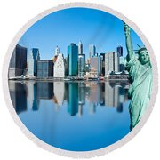 Round Beach Towel featuring the photograph Manhattan Liberty by Luciano Mortula